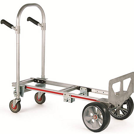 Magliner Gemini Jr. Convertible Hand Truck, 10 in. Interlocking Microcellular Foam Wheels, 500 lb./1000 lb. Capacity.