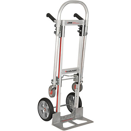 Magliner Gemini Jr. Convertible Hand Truck, 10 in. Interlocking Polyurethane Wheels, 500 lb./1000 lb. Capacity.