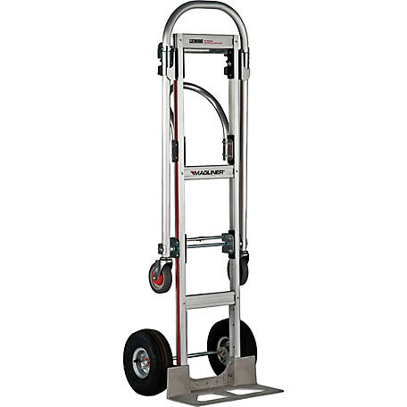Magliner Gemini Sr. Convertible Hand Truck, U-Loop Handle, 10 in. 4-Ply Pneumatic Wheels, 500 lb./1000 lb. Capacity.