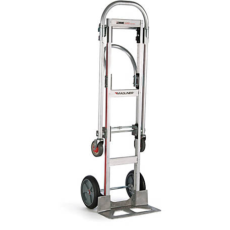Magliner Gemini Sr. Convertible Hand Truck, U-Loop Handle, 10 in. Balloon Cushion Rubber Wheels, 500 lb./1000 lb. Capacity.