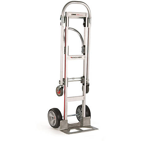 Magliner Gemini Sr. Convertible Hand Truck, U-Loop Handle, 10 in. Interlocking Polyurethane Wheels, 500 lb./1000 lb. Capacity.