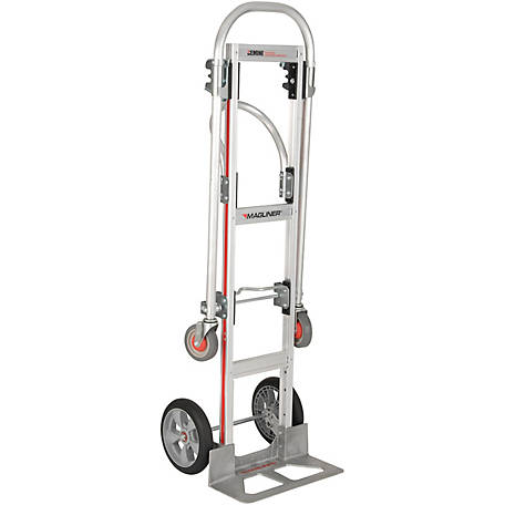 Magliner Gemini Sr. Convertible Hand Truck, U-Loop Handle, 10 in. Interlocking Microcellular Foam, 500 lb./1000 lb. Capacity.