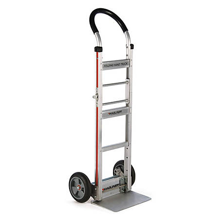 Magliner Folding 2-Wheel Hand Truck w/Straight Back Frame, U-Loop Handle, 8 in. Balloon Cushion Rubber Wheels, 500 lb. Capacity
