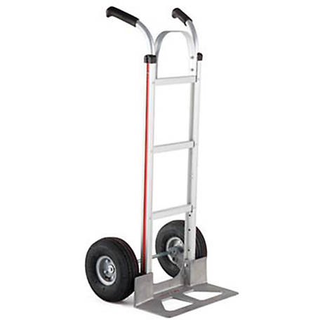 Magliner 2-Wheel Hand Truck w/Straight Back Frame, Double Pistol Grip Handle, 10 in. 4-Ply Pneumatic Wheels, 500 lb. Capacity