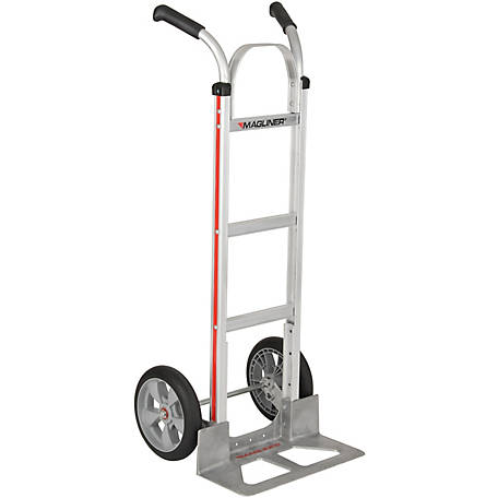 Magliner 2-Wheel Hand Truck w/Straight Back Frame, Double Pistol Grip Handle, 10 in. Interlocking Polyurethane Wheels