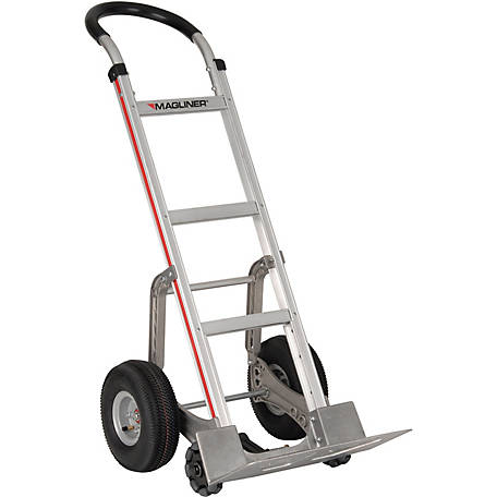 Magliner Self-Stabilizing Hand Truck, Straight Back Frame, U-Loop Handle, 10 in. 4-Ply Pneumatic Wheels, 500 lb. Capacity