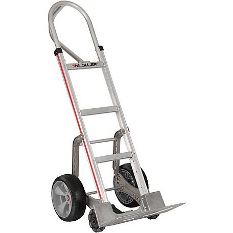 Magliner Self-Stabilizing Hand Truck, Straight Back Frame, 52 in. Vertical Loop Handle, 10 in. Interlocking Polyurethane Wheels