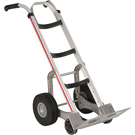 Magliner Self-Stabilizing Hand Truck, Curved Back Frame, Double Pistol Grip Handle, 10 in. Polyurethane Wheels