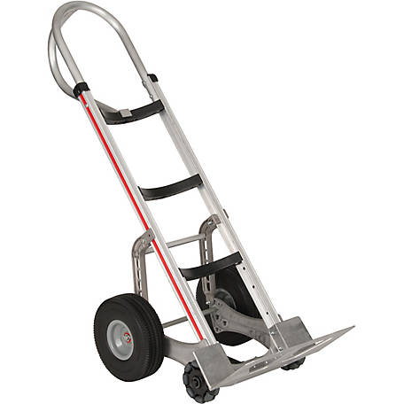 Magliner Self-Stabilizing Hand Truck, Curved Back Frame, 52 in. Vertical Loop Handle, 10 in. Polyurethane Wheels