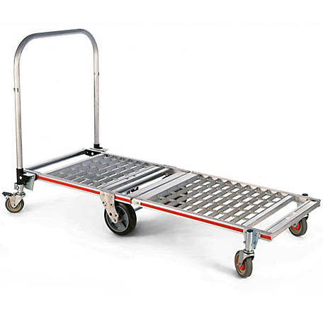 Magliner 6-Wheel Folding Platform Truck with Extension, 8 in. Balloon Cushion Rubber Wheels, 1,500 lb. Capacity