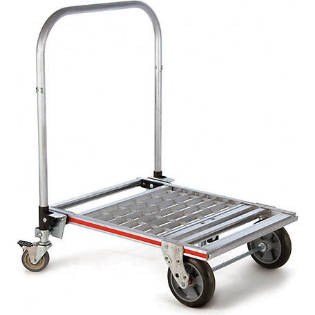 Magliner 6-Wheel Folding Platform Truck Base, 8 in. Balloon Cushion Rubber Wheels, Caster Brake, 750 lb. Capacity