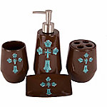 HiEnd Accents 4-Piece Cross Bathroom Set, Turquoise