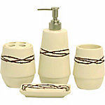 HiEnd Accents 4-Piece Barbwire Bathroom Set, Cream
