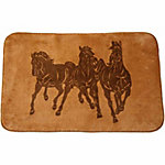 HiEnd Accents 3 Horse Bathroom/Kitchen Rug, 30 in. x 50 in., Light Chocolate