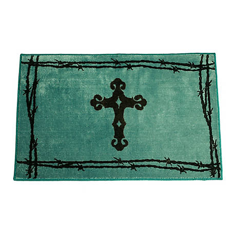 HiEnd Accents Cross Print Rug, 24 in. x 36 in., Turquoise