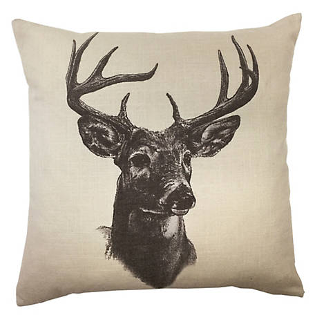 HiEnd Accents Whitetail Deer Linen Print Pillow, 18 in. x 18 in.