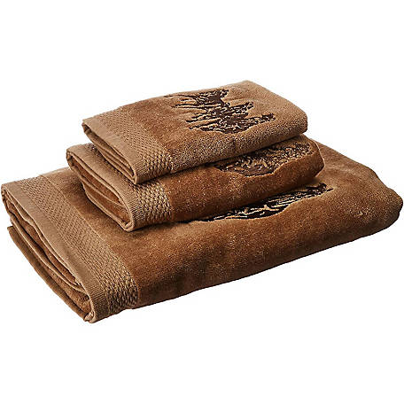 HiEnd Accents Embroidered 3-Horse Towel Set, 3-Piece, Mocha