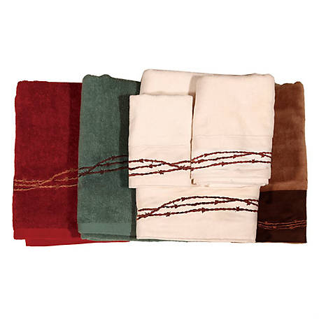 HiEnd Accents Embroidered Barbwire Towel Set, 3-Piece, Mocha