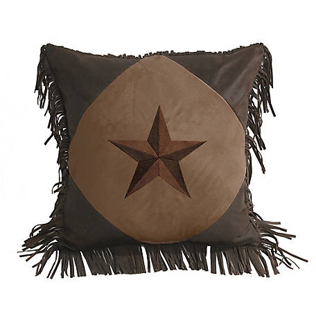 HiEnd Accents Diamond Shape Star Pillow, 18 in. x 18 in., Dark Tan