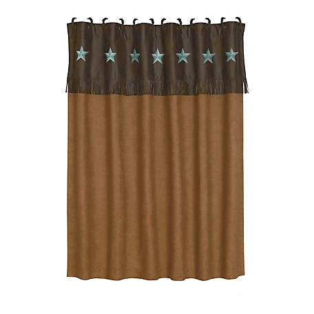 HiEnd Accents Laredo Shower Curtain, 72 in. x 72 in., Turquoise
