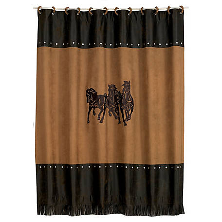 HiEnd Accents Embroidered 3-Horse Shower Curtain, 72 in. x 72 in., Tan