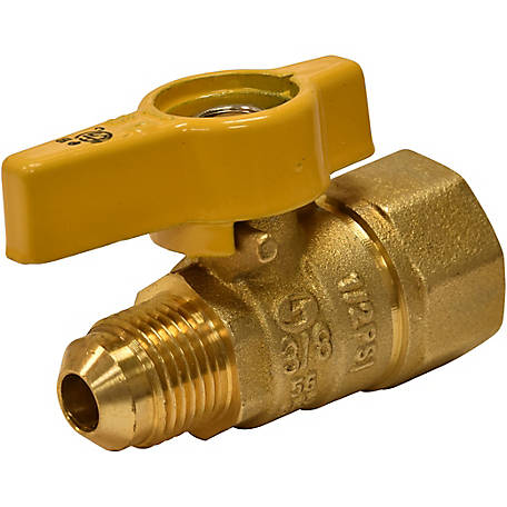 Eastman Straight Flare Gas Ball Valve, 1/2 in. FIP, 3/8 in. OD Flare