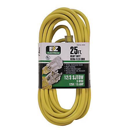 Ez-Flo 25 ft. Yellow Extension Cord with Indicator Light