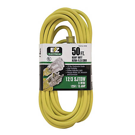 Ez-Flo 50 ft. Yellow Extension Cord with Indicator Light