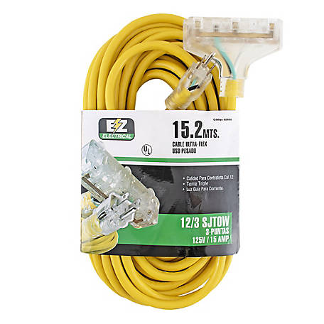 Ez-Flo 50 ft. Yellow Triple-Tap Extension Cord with Indicator Light