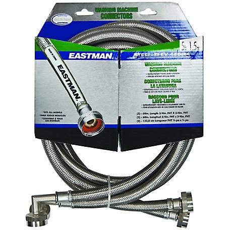 Eastman 5 ft. Stainless Steel Washing Machine Hose with 90 deg. Elbow, Pack of 2