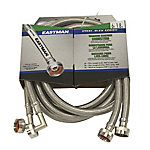 Eastman 6 ft. Stainless Steel Washing Machine Hose with 90 deg. Elbow, Pack of 2