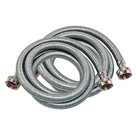 Eastman 6 ft. Stainless Steel Washing Machine Hose, Pack of 2
