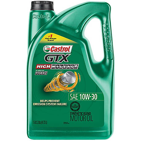 Castrol GTX High Mileage 10W-30 Synthetic Blend Motor Oil, 5 qt.