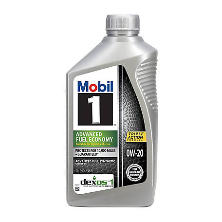 Mobil 1 Advanced Fuel Economy Full Synthetic Motor Oil 0W-20, 1 qt., 105891