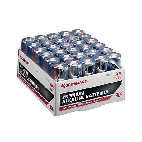 JobSmart AA Alkaline Battery, Pack of 30, 7151-30S