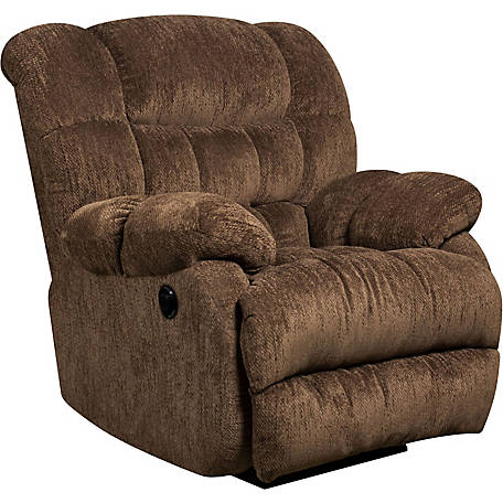 Contemporary Columbia Microfiber Power Recliner with Push Button