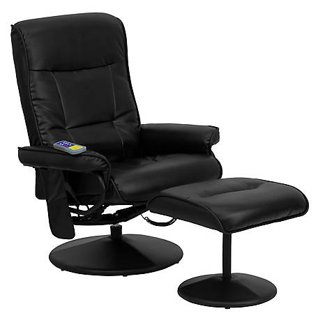 Massaging Black Leather Recliner and Ottoman with Leather Wrapped Base, 42 in. H