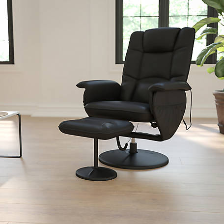 Massaging Black Leather Recliner and Ottoman with Leather Wrapped Base, 39 in. H