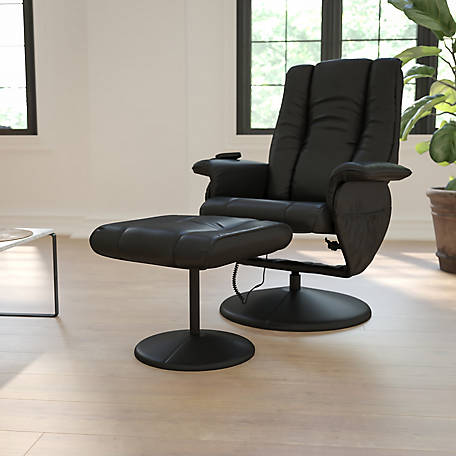 Massaging Black Leather Recliner and Ottoman with Leather Wrapped Base, 41 in. H
