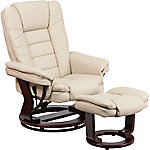 Contemporary Vintage Leather Recliner and Ottoman with Swiveling Mahogany Wood Base
