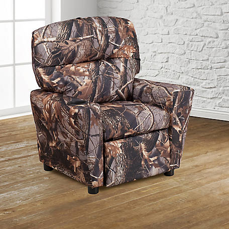 Contemporary Camouflaged Fabric Kid's Recliner with Cup Holder