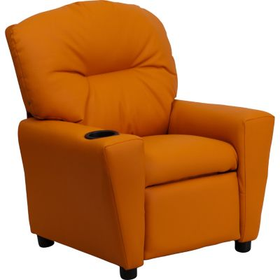 Contemporary Microfiber Kid's Recliner with Cup Holder