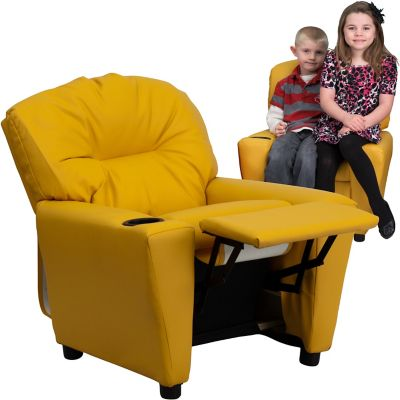 Contemporary Vinyl Kid's Recliner with Cup Holder