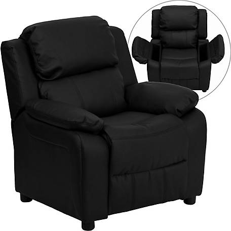 Deluxe Padded Contemporary Leather Kid's Recliner with Storage Arms