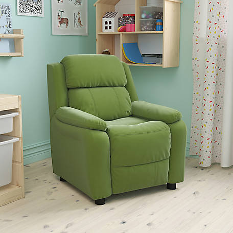 Deluxe Padded Contemporary Microfiber Kid's Recliner with Storage Arms