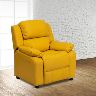 Deluxe Padded Contemporary Vinyl Kid's Recliner with Storage Arms