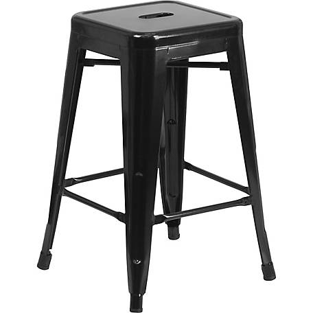 24 in. High Backless Metal Indoor/Outdoor Counter Height Stool with Square Seat
