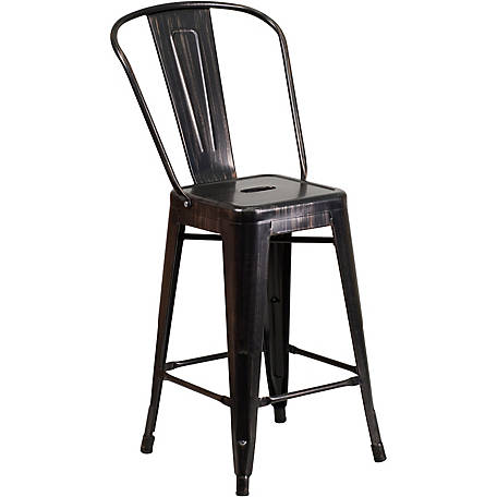 24 in. High Metal Indoor/Outdoor Counter Height Stool