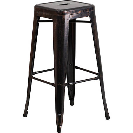 30 in. High Backless Metal Indoor/Outdoor Barstool with Square Seat
