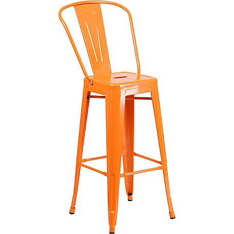 30 In High Metal Indooroutdoor Vintage Barstool With Back At Tractor